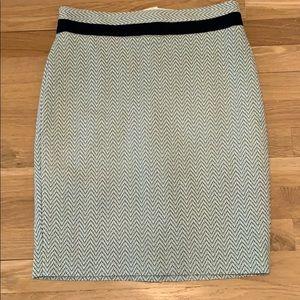 Green and blue chevron pencil skirt